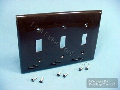 Leviton Unbreakable Brown 3-Gang Switch Cover Wall Plate Nylon Switchplate 80711