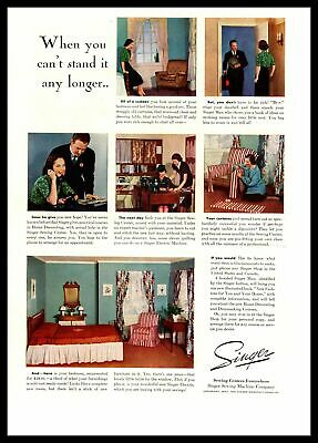 "1937 Singer Sewing Machine ""When You Can't Stand It Any Longer"" Color Print Ad"