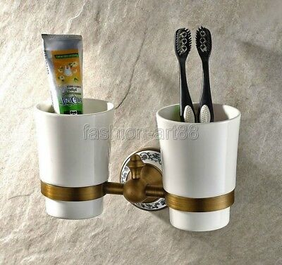 Antique Brass Wall Mounted Bathroom Toothbrush Holder Dual Ceramic Cups  fba408