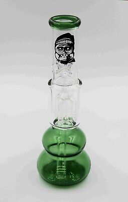 GLASS WATER PIPE Stem & Cone BONG Hurricane QUALITY clear green SILVERBACK 25cm