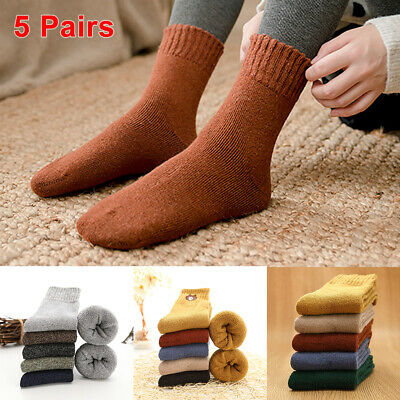 5 Pairs Thick Wool Work Tough Heavy Duty Socks Warm Thermal Hiking Camp Unisex
