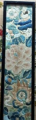 Vintage Chinese Silk Embroidered Framed and Glazed Panel