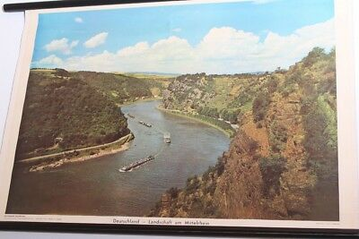Schulwandkarte Role Map Wall Chart Germany Landscape at Middle Rhine