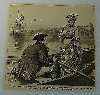 1882 magazine engraving ~ MRS. DESMOND'S AMBITION, woman rocking the boat