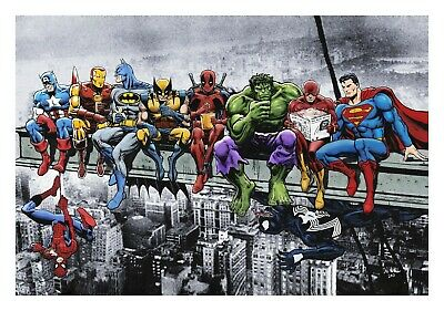 Marvel & DC Superheroes. Lunch on a Sky. Art Print. Size: 8.27 × 11.69 Inches