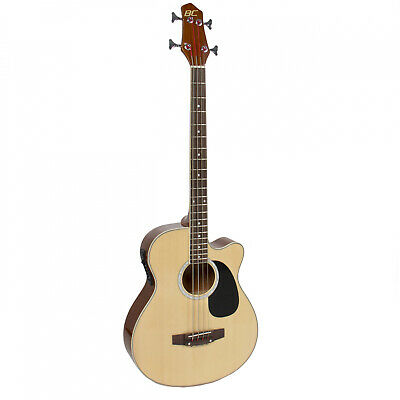 Electric Acoustic Bass Guitar Natural Solid Wood Construction w/ Equalizer NEW