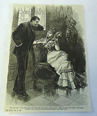 1882 magazine engraving ~ The Lost Bar ~ Woman With Violin