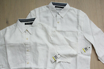 Nautica Men Linen Short and Long Sleeve Button Down Shirt Lot of 2 Medium NEW