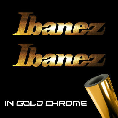 "2x Ibanez Guitars Decal Stickers 3.0"" x 0.8"" Metallic gold chrome logo die cut"