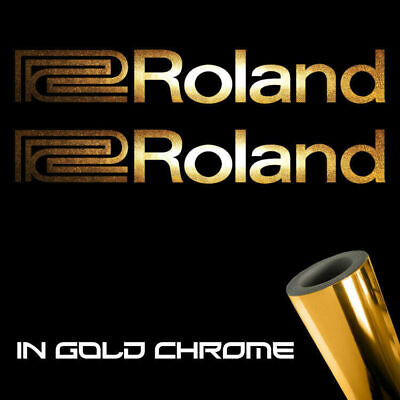 "2x Roland Decal Stickers 6"" x 0.8"" Metallic gold chrome logo die cut keyboards"