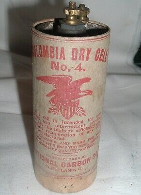 Antique telephone Radio battery Columbia Dry Cell No 4 National carbon 1893 Date
