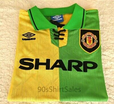 1992-1994 Manchester United third green gold yellow retro football soccer shirt