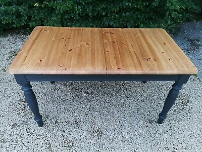 Hand Painted Solid Pine Dining Table In  Athenian Black By Annie Sloan