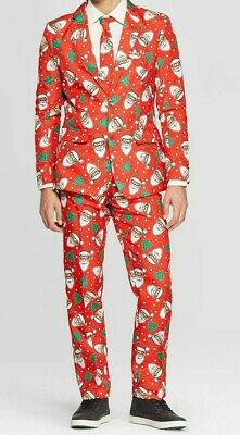 Mens Ugly Christmas Santa and Trees 3 piece Suit NEW
