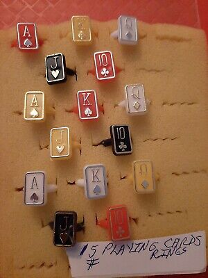 Vintage Gumball/Vending/Dime Store Playing Card Rings Lot Of 15