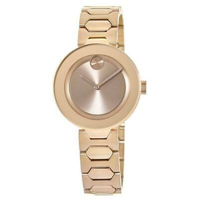 New Movado Bold Rose Gold Tone Stainless Steel Women's Watch 3600387