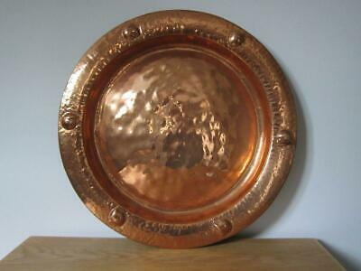 Large Vintage Wall Hanging Copper Charger Plate Hand Beaten 42cm Diameter
