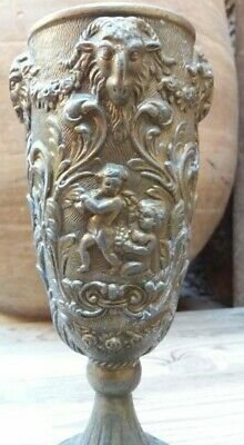 Ancient Roman Metal Bronze Cup Drinking Wine Depicting Animal Head