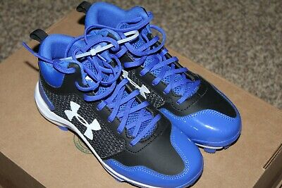 Brand New Youth Under Armour Heater Mid Tpu Blue Baseball Cleats Size 3.5Y