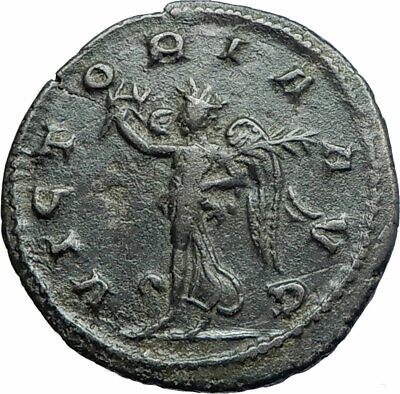 GALLIENUS Authentic Ancient 264AD Genuine Roman Coin of Antioch VICTORY i79372