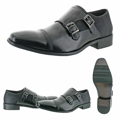 Kenneth Cole Reaction Men's Up In Smoke Leather Slip-On Dress Monk Shoes