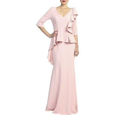 Badgley Mischka Womens Pink Elbow Sleeves Evening Dress Gown 6 BHFO 9120