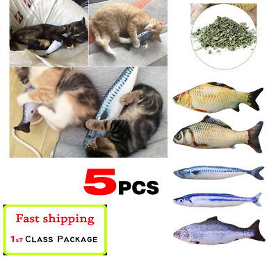 Realistic Interactive Fish Cat Pet Toy 5 Set Kicker Crazy Gift Catnip funny Toys