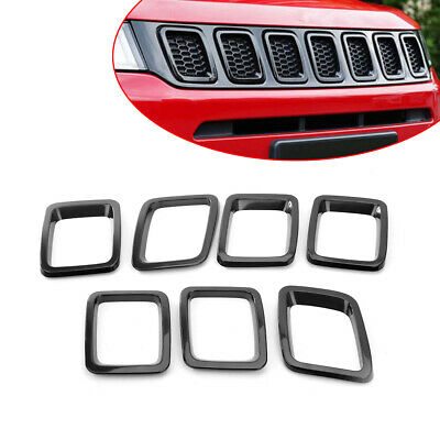 ABS Chrome Black Front Grill Grille Cover Trim 7PCS for Jeep Compass 2017