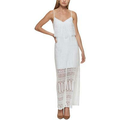 Aqua Womens White Full-Length Crochet Trim Daytime Maxi Dress S BHFO 7592