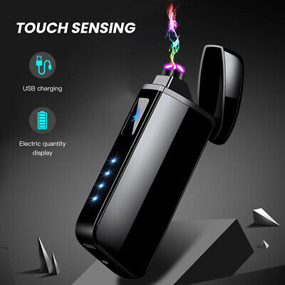 USB Rechargeable Touch Cigarette Lighter Electric Double Arc Flameless Windproof