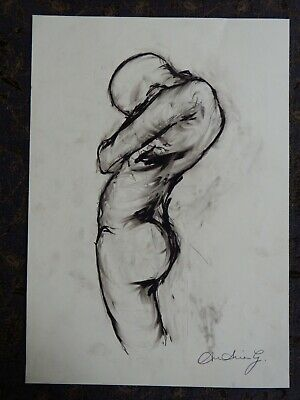 Original chinagraph pencil expressive nude figure standing pose life drawing