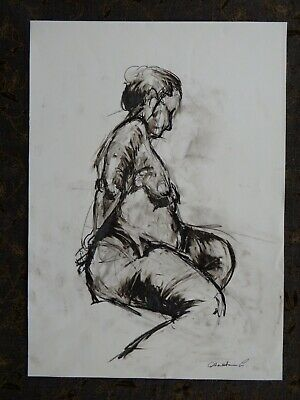 Original nude chinagraph pencil expressive female life drawing sitting pose