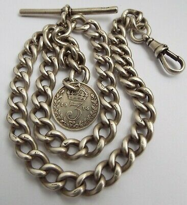 Lovely Heavy English Antique 1929 Solid Sterling Silver Albert Chain & Coin Fob