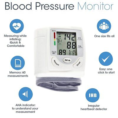 Wrist Type Cuff Blood Pressure Monitor Automatic Monitor Pulse Rate Tester Meter