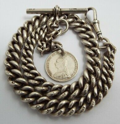 Superb Heavy English Antique 1898 Solid Sterling Silver Albert Chain & Coin Fob