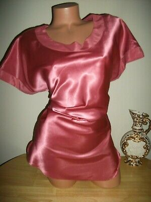 Vtg Satin pINK Shiny Oily Glossy tunic top Lounge Sleep shirt tunic top S P 42""