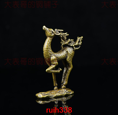 Collection China Seiko carving bronze Lovely Sika deer statue Desktop decoration