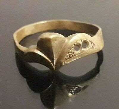Rare Ancient Bronze Antique Unique Ring Artifact Old Norse Mythology Ornament