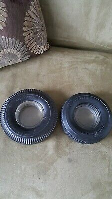 2 Vintage Firestone Tire Ashtray With Glass Insert