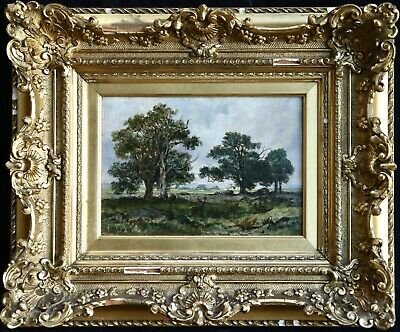 Theodore Rousseau (1812-1867) Signed French Barbizon Oil Panel - Deer Forest