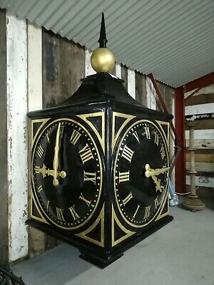 Large Outdoor Two Sided Black And Gold Clock Tower  -  Warwick Reclamation