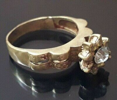 Rare Wedding Ring Ancient Rare Ornament Fabulous Bronze Color Old Stone Jewelry