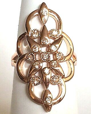 Rose Gold Art Deco Cocktail Ring Boho Size 8 Statement Vintage Style Plated