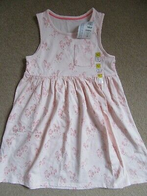 Marks And Spencer Girls Pale Pink Unicorn Print Dress New Age 6-7 Bnwt