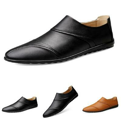 Mens Slip on Leather Loafers Shoes Driving Moccasins Flats Soft Comfy Non-slip
