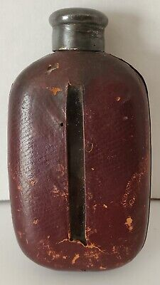 Vintage Leather Case & Glass Flask Bottle Metal Cap Hunting Fishing Football
