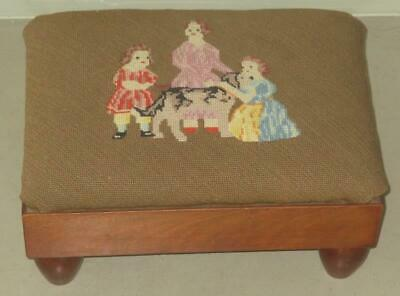 Antique Petit Point Needlepoint Stool Three Girls And A Dog