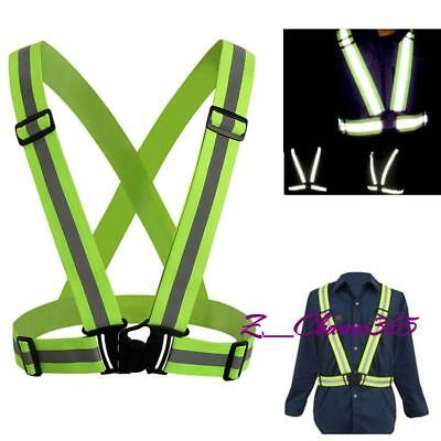 Adjustable Cycling Reflective Vest Night Reflector Motorcycle Running Harness L