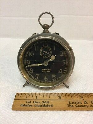 OLD 1925 Antique Westclox Baby Ben Wind-Up Alarm Clock with Black Dial