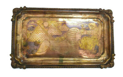 Antique Sphinx Pyramid Egyption Tray Hand Engraved Brass Wall Decor Copper Inlay